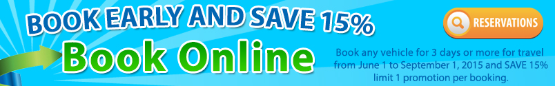 Book Online and Save 15 percent