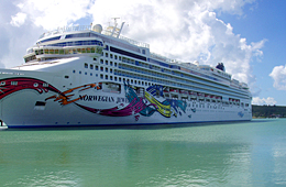 Cruise ship docked in Antigua